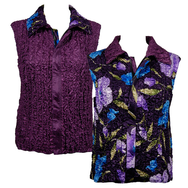 Quilted Reversible Vests - Blue-Purple Floral on Eggplant reverses to Solid Eggplant