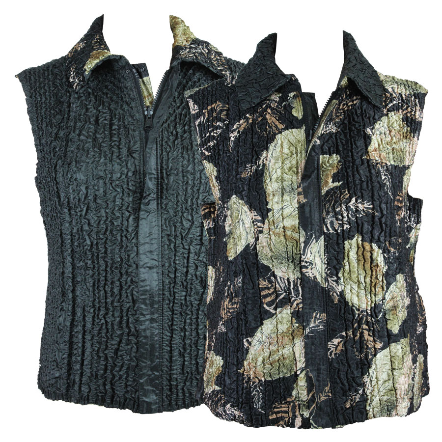 Quilted Reversible Vests - Black with Gold Leaves reverses to Solid Black