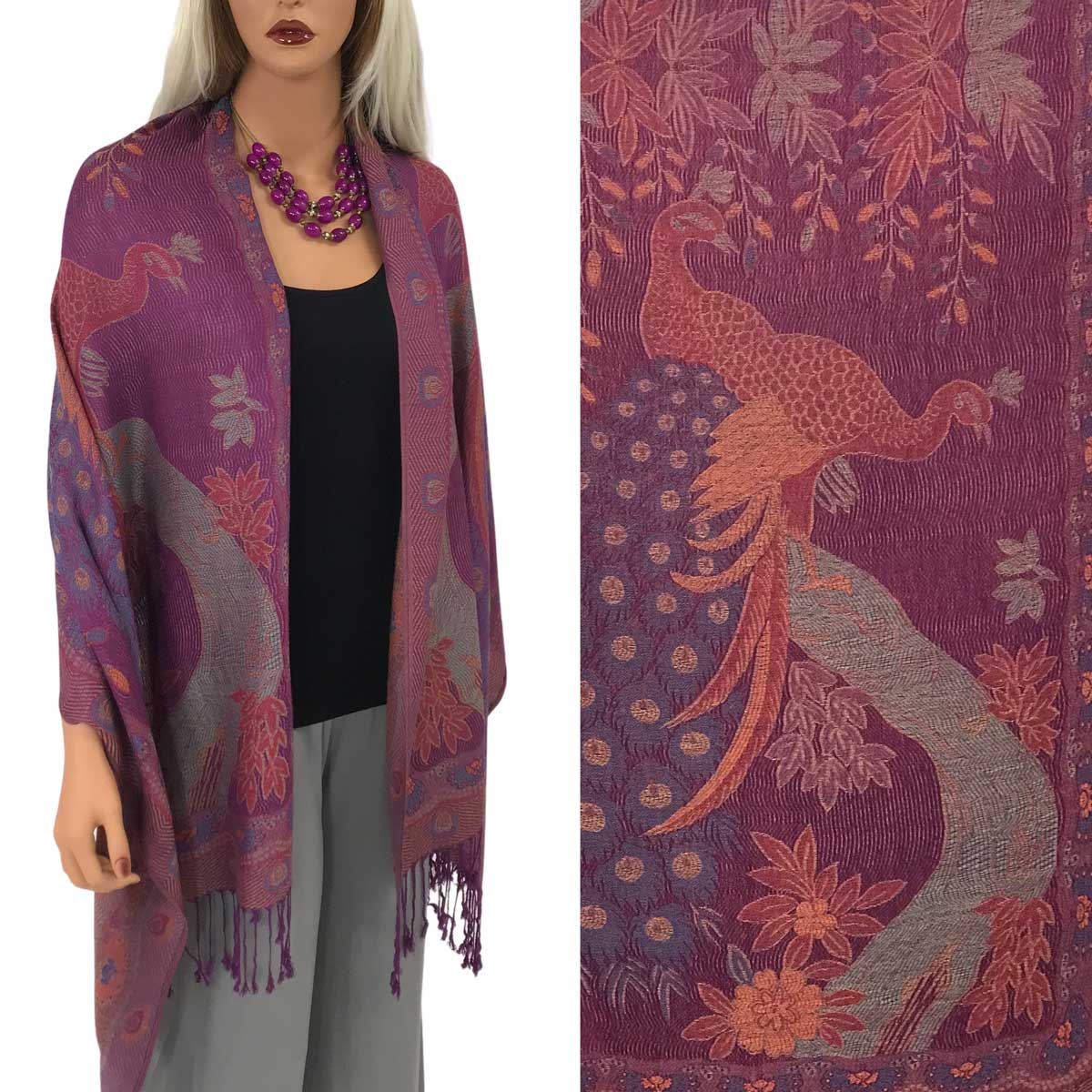 Pashmina Style Shawls - Woven Solids & Prints