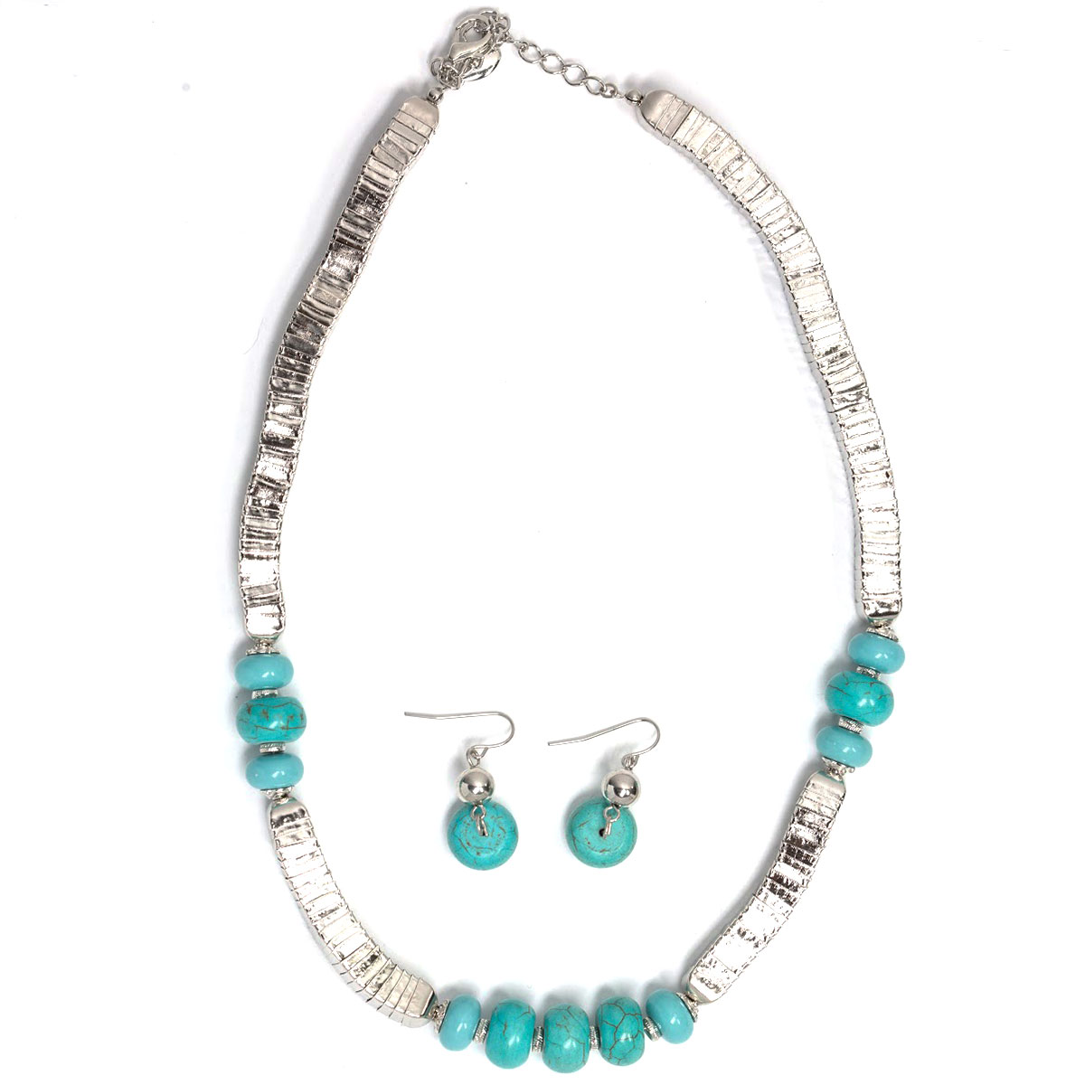 Fashion Necklace & Earring Sets - Silver with Turquoise Stones
