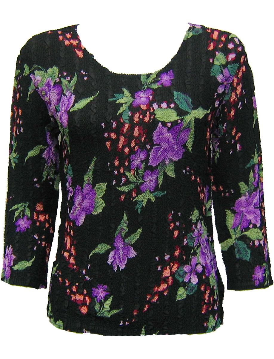 Wholesale Magic Crush Georgette - Three Quarter Sleeve* Black-Purple Floral - One Size (S-L)