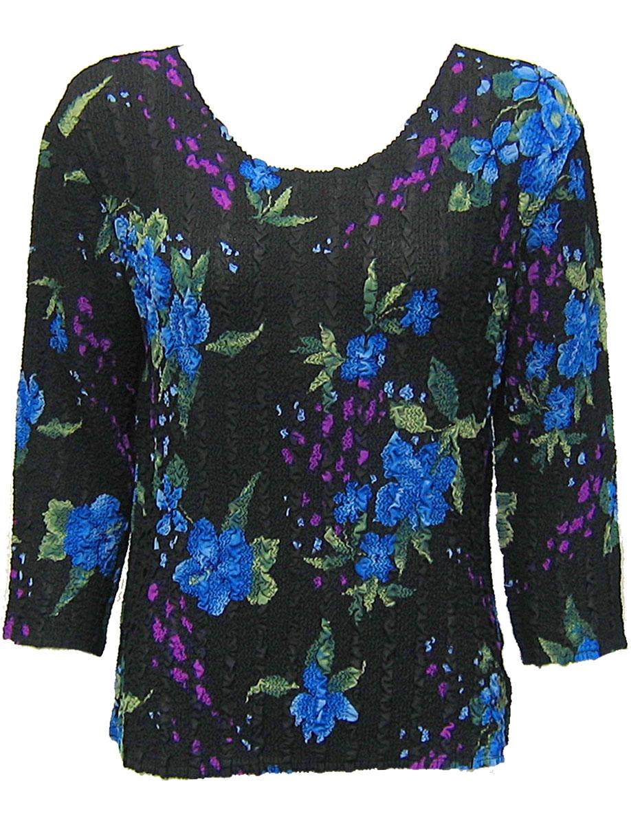 Wholesale Magic Crush Georgette - Three Quarter Sleeve* Black-Blue Floral - One Size (S-L)
