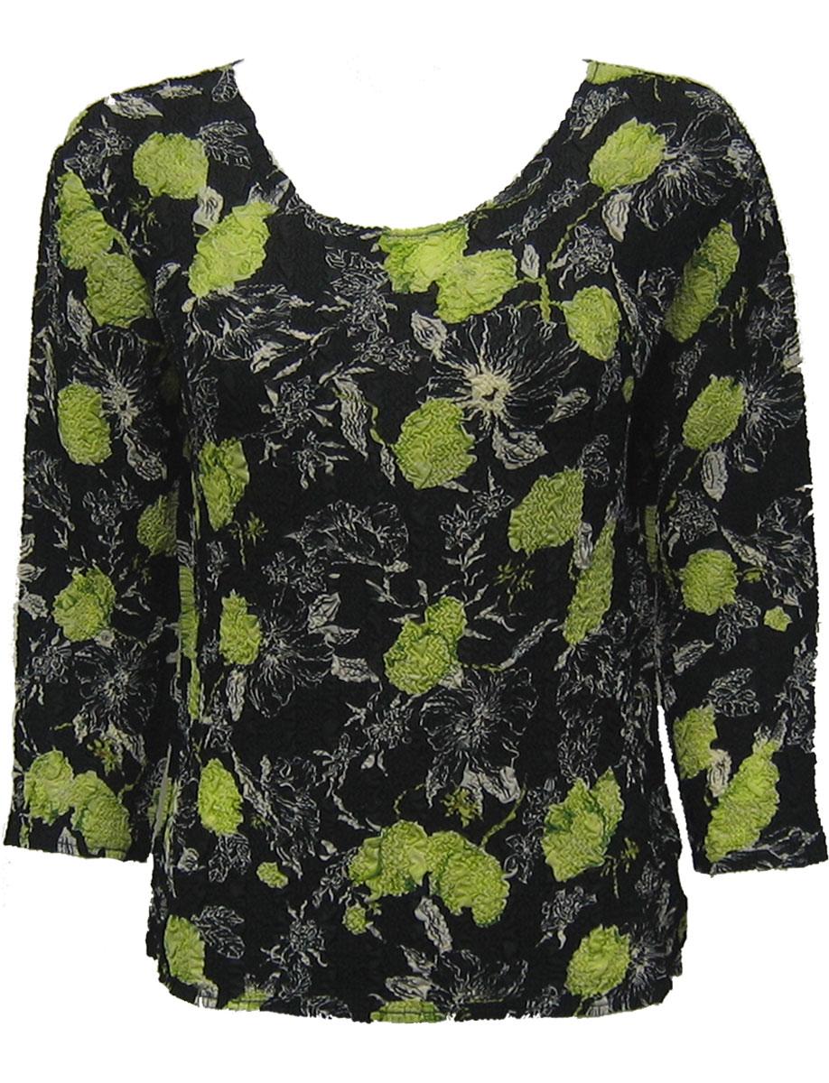 Wholesale Magic Crush Georgette - Three Quarter Sleeve* Black-Kiwi Floral - One Size (S-L)