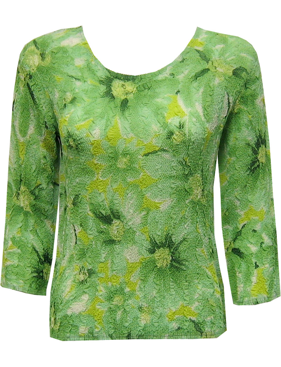 Wholesale Magic Crush Georgette - Three Quarter Sleeve* Daisies - Green - One Size (S-L)
