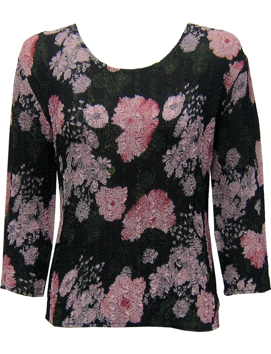 Wholesale Magic Crush Georgette - Three Quarter Sleeve* Floral Stencil Pink - One Size (S-L)