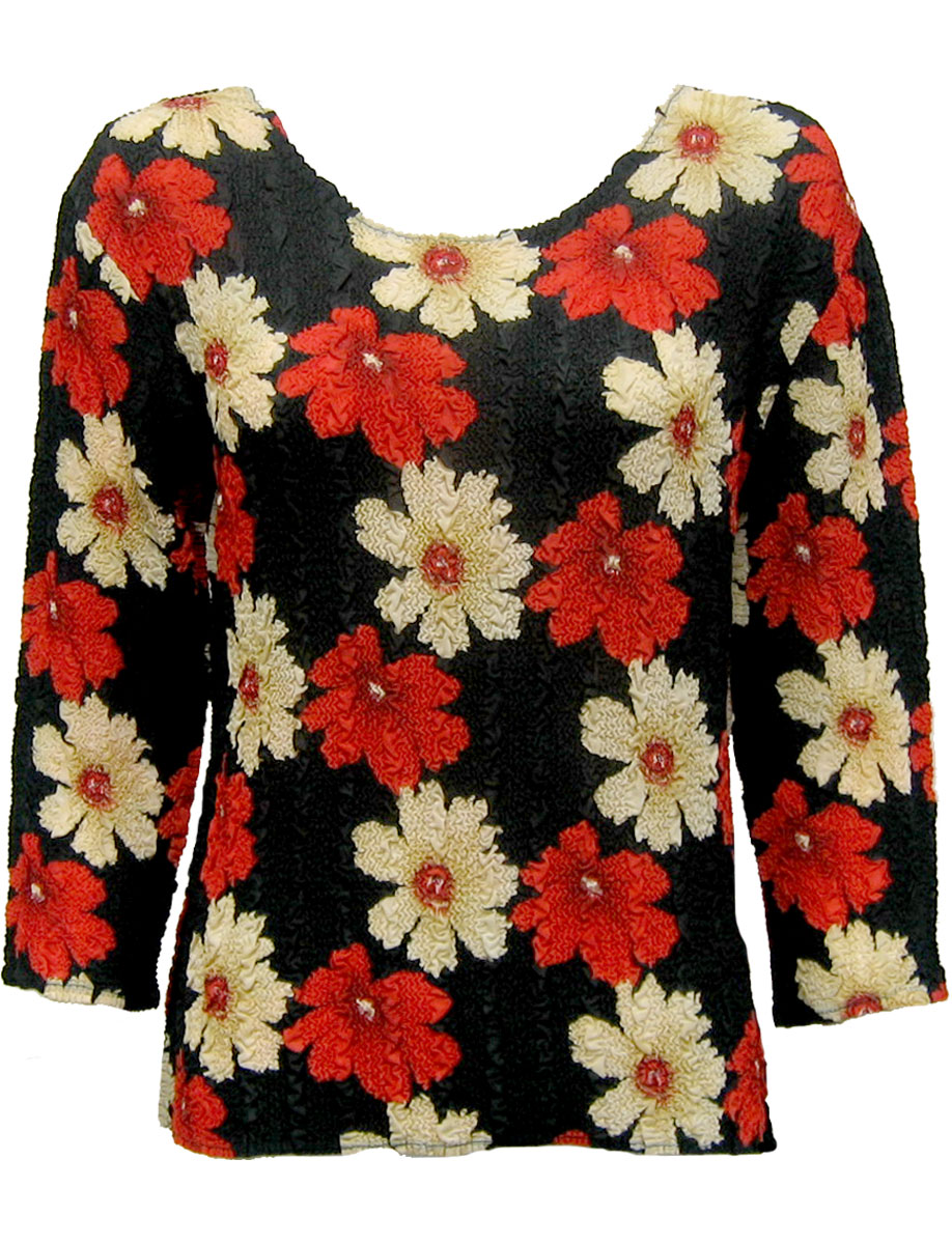 Wholesale Magic Crush Georgette - Three Quarter Sleeve* Hibiscus Red-Tan - One Size (S-L)