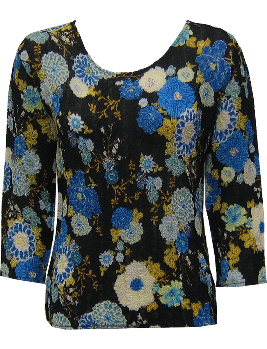 Wholesale Magic Crush Georgette - Three Quarter Sleeve* Mums Blue-Black - One Size (S-L)