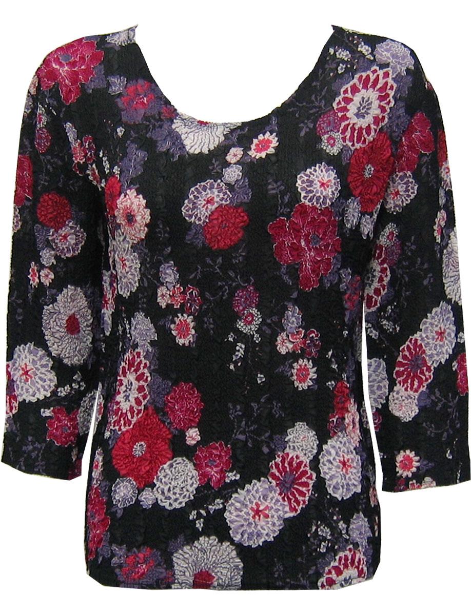 Wholesale Magic Crush Georgette - Three Quarter Sleeve* Mums Pink-Black - One Size (S-L)