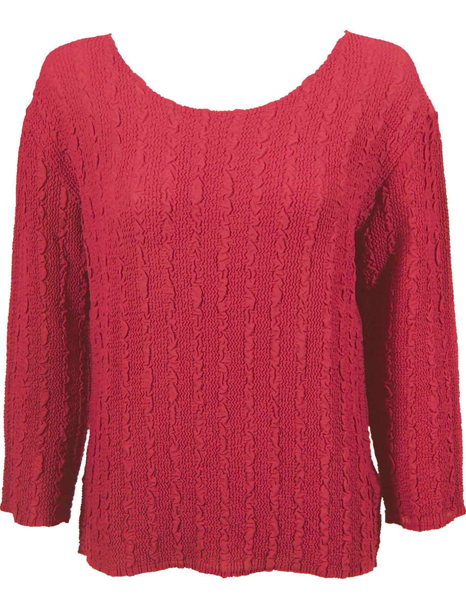 Wholesale Magic Crush Georgette - Three Quarter Sleeve* Solid Coral - One Size (S-L)