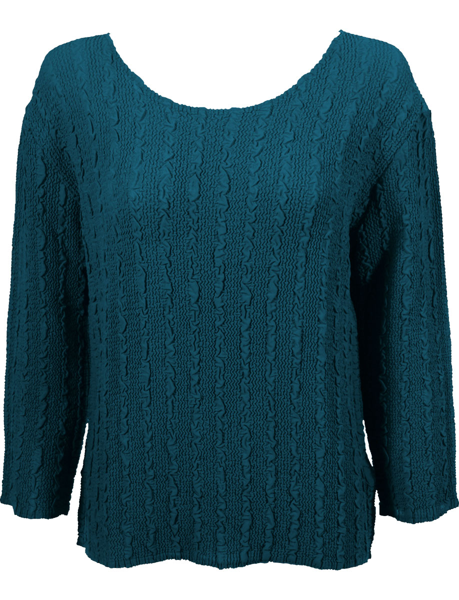 Wholesale Magic Crush Georgette - Three Quarter Sleeve* Solid Teal - One Size (S-L)