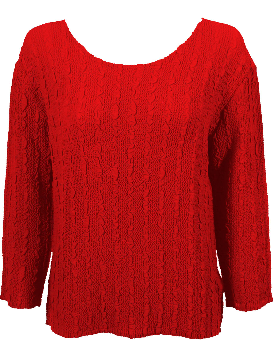 Wholesale Magic Crush Georgette - Three Quarter Sleeve* Solid Red - One Size (S-L)