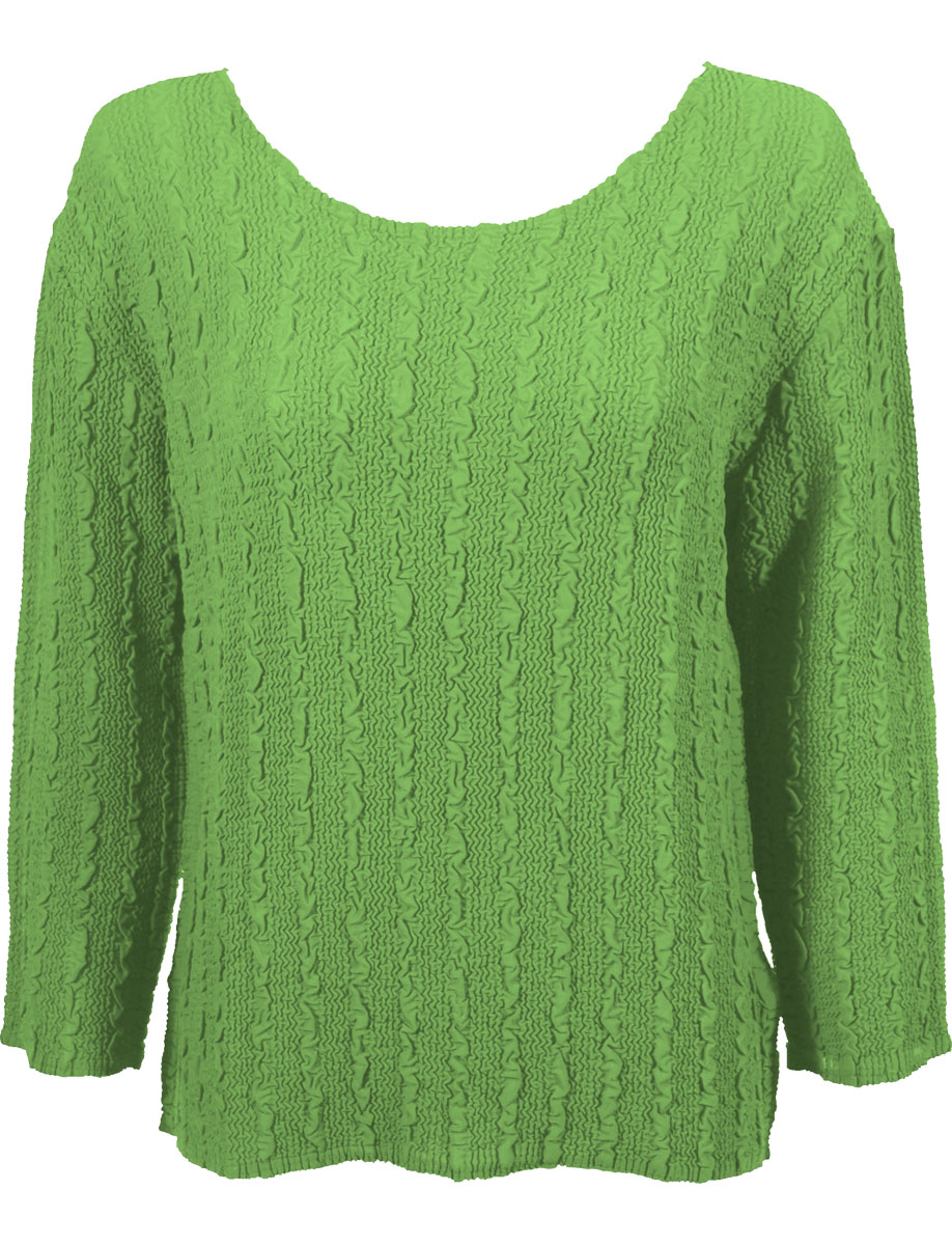 Wholesale Magic Crush Georgette - Three Quarter Sleeve* Solid Lime - One Size (S-L)