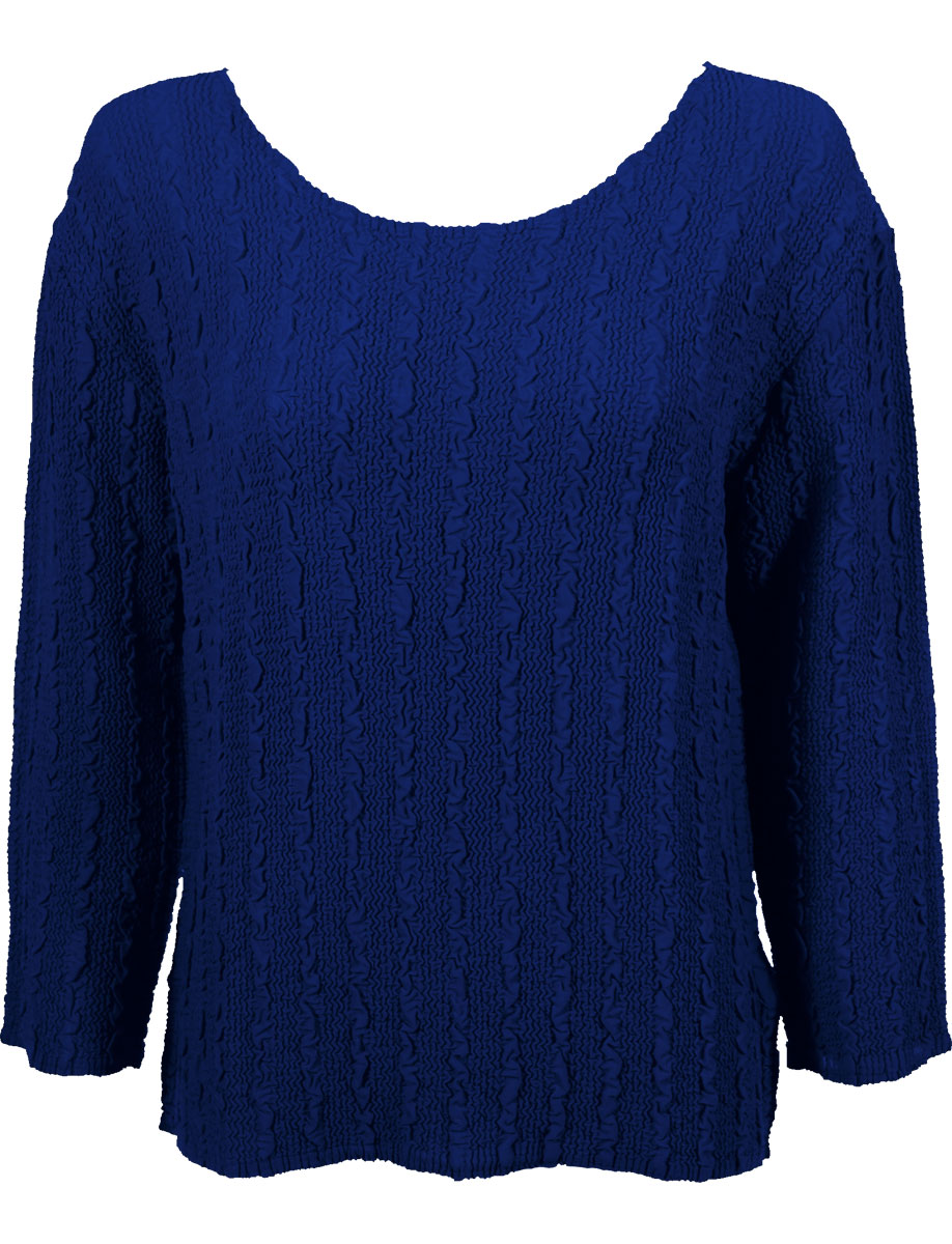 Wholesale Magic Crush Georgette - Three Quarter Sleeve* Solid Royal - One Size (S-L)