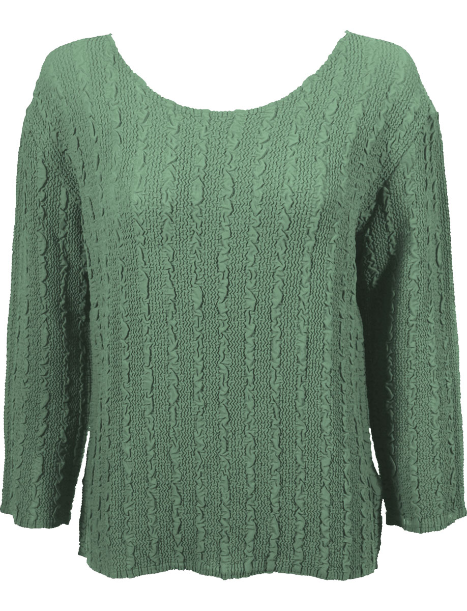 Wholesale Magic Crush Georgette - Three Quarter Sleeve* Solid Light Moss - One Size (S-L)