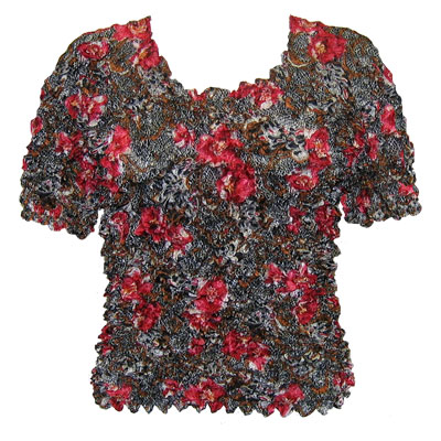 Silky Touch Popcorn - Queen Short Sleeve - Floral Lace Black-Red