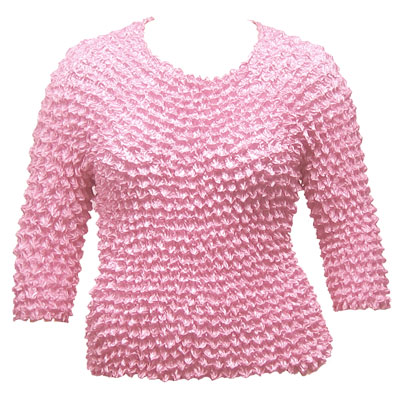 Wholesale Silky Touch Popcorn - Queen Three Quarter Sleeve  Baby Pink - Queen Size Fits (XL-3X)