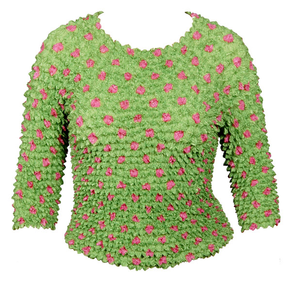 Wholesale Silky Touch Popcorn - Queen Three Quarter Sleeve  Dots Lime-Pink - Queen Size Fits (XL-3X)