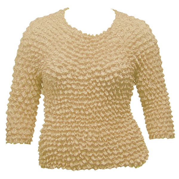 Wholesale Silky Touch Popcorn - Queen Three Quarter Sleeve  Beige - Queen Size Fits (XL-3X)