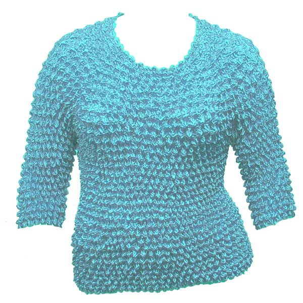 Wholesale Silky Touch Popcorn - Queen Three Quarter Sleeve  Light Turquoise - Queen Size Fits (XL-3X)