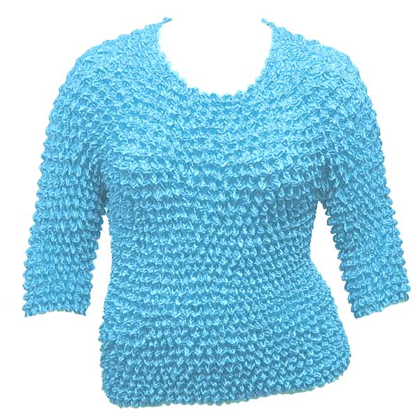 Wholesale Silky Touch Popcorn - Queen Three Quarter Sleeve  Turquoise - Queen Size Fits (XL-3X)