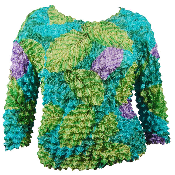 Wholesale Silky Touch Popcorn - Queen Three Quarter Sleeve  Leaves Green-Violet-Teal - Queen Size Fits (XL-3X)