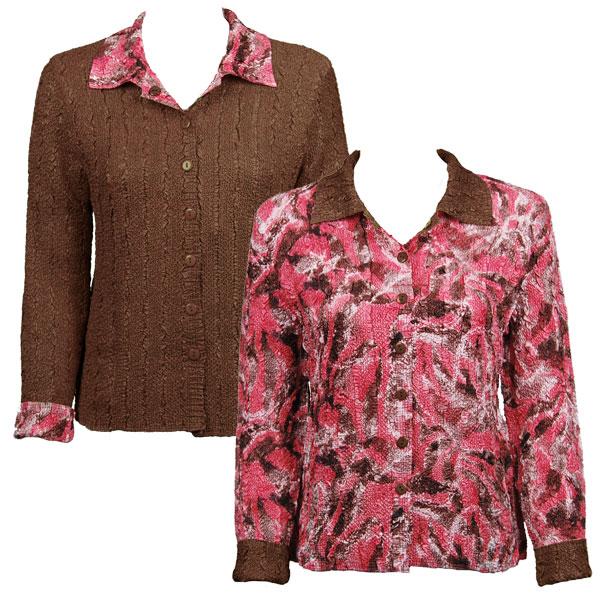Wholesale Magic Crush - Reversible Jackets Batik Blush reverses to Solid Brown (Special) - XL-1X