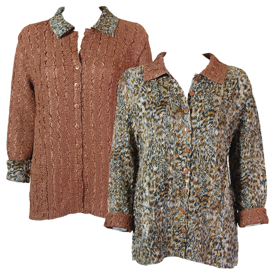Wholesale Magic Crush - Reversible Jackets Leopard reverses to Solid Dark Taupe #P20 - 1X-2X