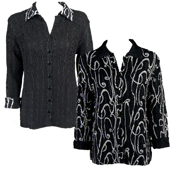 Wholesale Ultra Light Crush Silky Touch - 3/4 Sleeve* Swirl Black-White reverses to Solid Black - L-XL