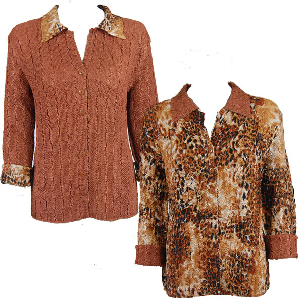 Wholesale Magic Crush - Reversible Jackets Golden Leopard reverses to Solid Brass #P05 - 1X-2X