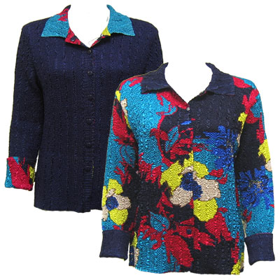 Wholesale Magic Crush - Reversible Jackets Cukoo Blue reverses to Solid Navy - XL-1X
