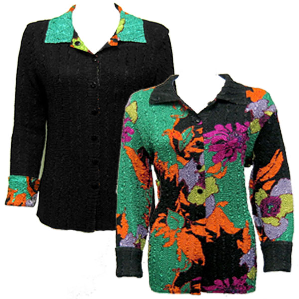 Wholesale Ultra Light Crush Silky Touch - 3/4 Sleeve* Cukoo Green reverses to Solid Black -     M-L