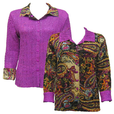 Wholesale Magic Crush - Reversible Jackets Paisley Plaid Magenta reverses to Solid Orchid - XL-1X