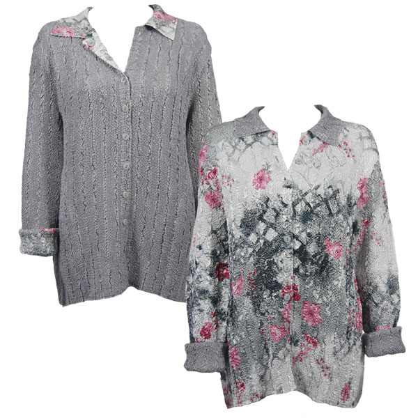 Wholesale Magic Crush - Reversible Jackets White-Black-Pink Floral reverses to Solid Silver #9301 - 1X-2X