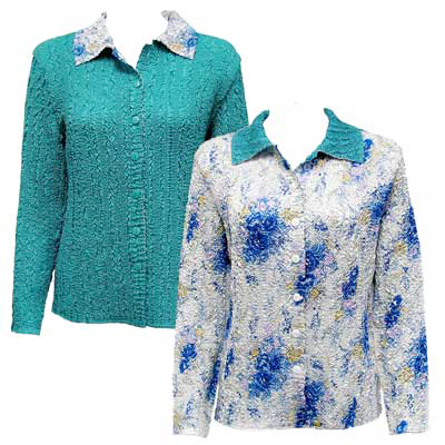 Wholesale Magic Crush - Reversible Jackets Roses-Blue on White reverses to Solid Teal - XXL