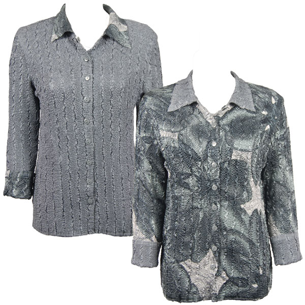 Wholesale Magic Crush - Reversible Jackets Silver Abstract reverses to Solid Silver - 1X-2X