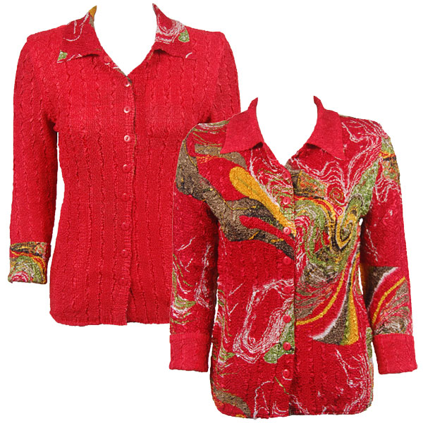 Wholesale Magic Crush - Reversible Jackets Swirl Olive-Red reverses to Solid Red -      S-M