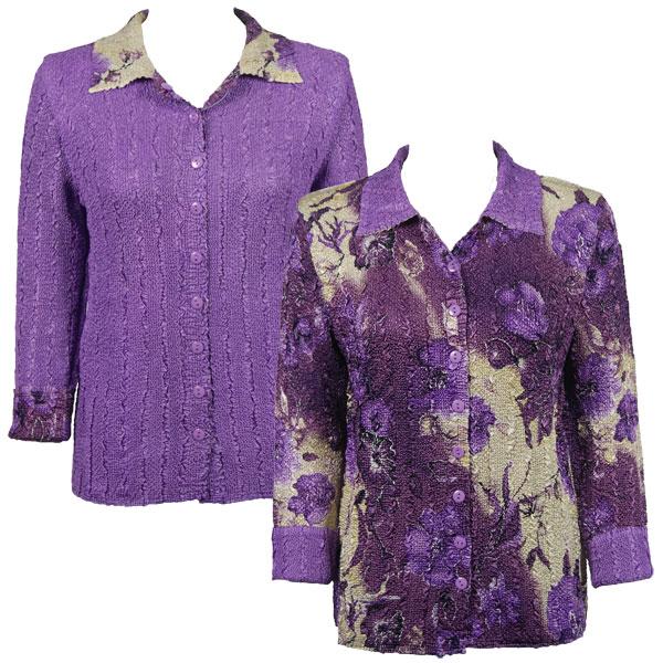 Wholesale Magic Crush - Reversible Jackets Rose Floral - Purple reverses to Solid Light Purple -    L-XL