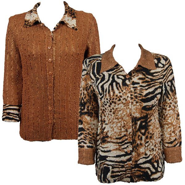 Wholesale Magic Crush - Reversible Jackets Bronze Leopard reverses to Solid Bronze - S-M