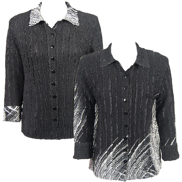 Wholesale Magic Crush - Reversible Jackets Lines - White on Black reverses to Solid Black -      S-M