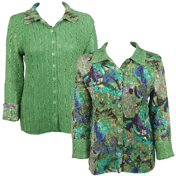 Wholesale Magic Crush - Reversible Jackets Butterfly Floral Green-Purple reverses to Solid Green - 1X-2X