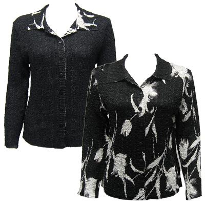 Wholesale Magic Crush - Reversible Jackets White Tulips on Black reverses to Solid Black -    L-XL