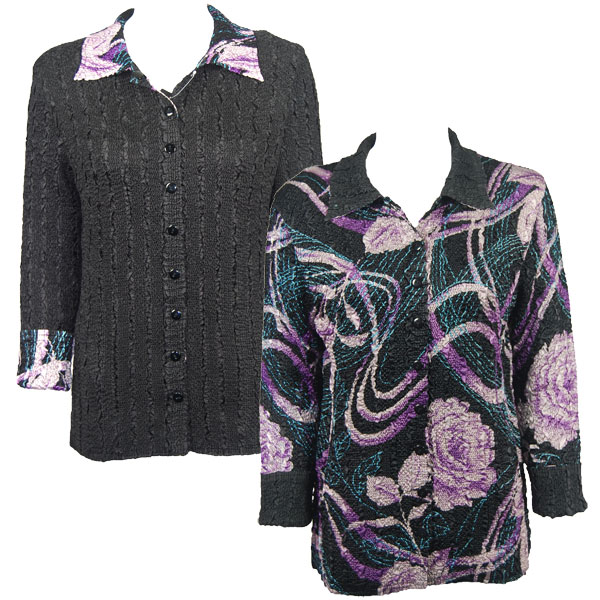 Wholesale Magic Crush - Reversible Jackets Abstract Floral Purple-Rose reverses to Solid Black #A05 - 1X-2X