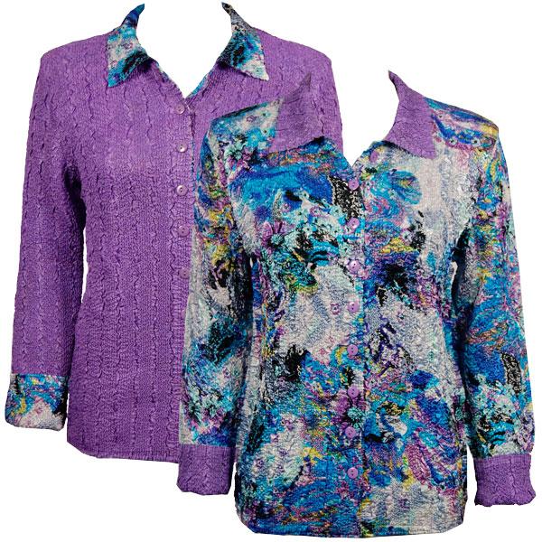 Wholesale Magic Crush - Reversible Jackets Paint Splatter Aqua-Purple reverses to Solid Bright Purple - 1X-2X