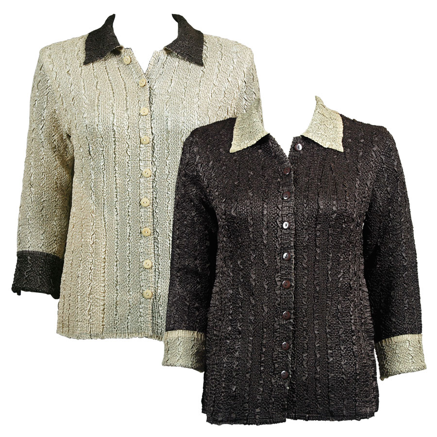 Wholesale Magic Crush - Reversible Jackets Solid Dark Brown reverses to Solid Natural - 1X-2X