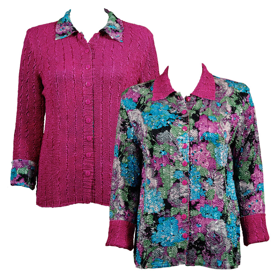 Wholesale Magic Crush - Reversible Jackets Sky Blue-Coral Floral reverses to Solid Fuchsia - L-XL