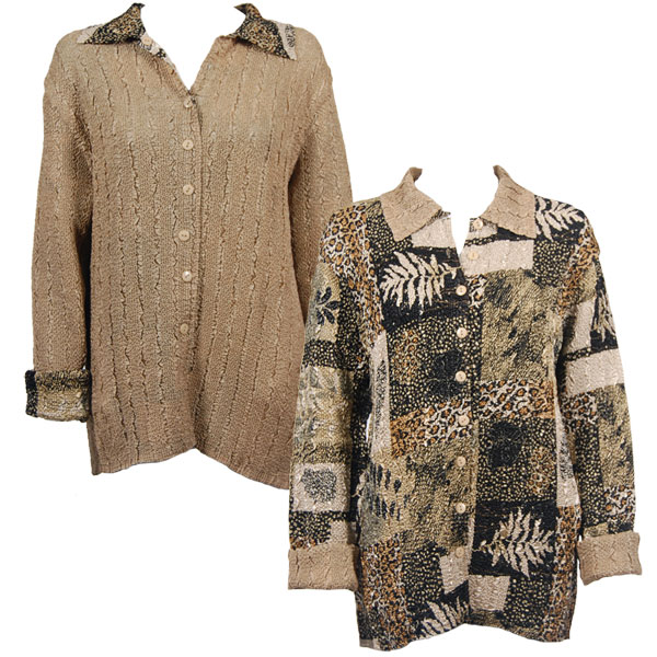 Wholesale Magic Crush - Reversible Jackets Patchwork Jungle reverses to Solid Tan #1049 - S-M