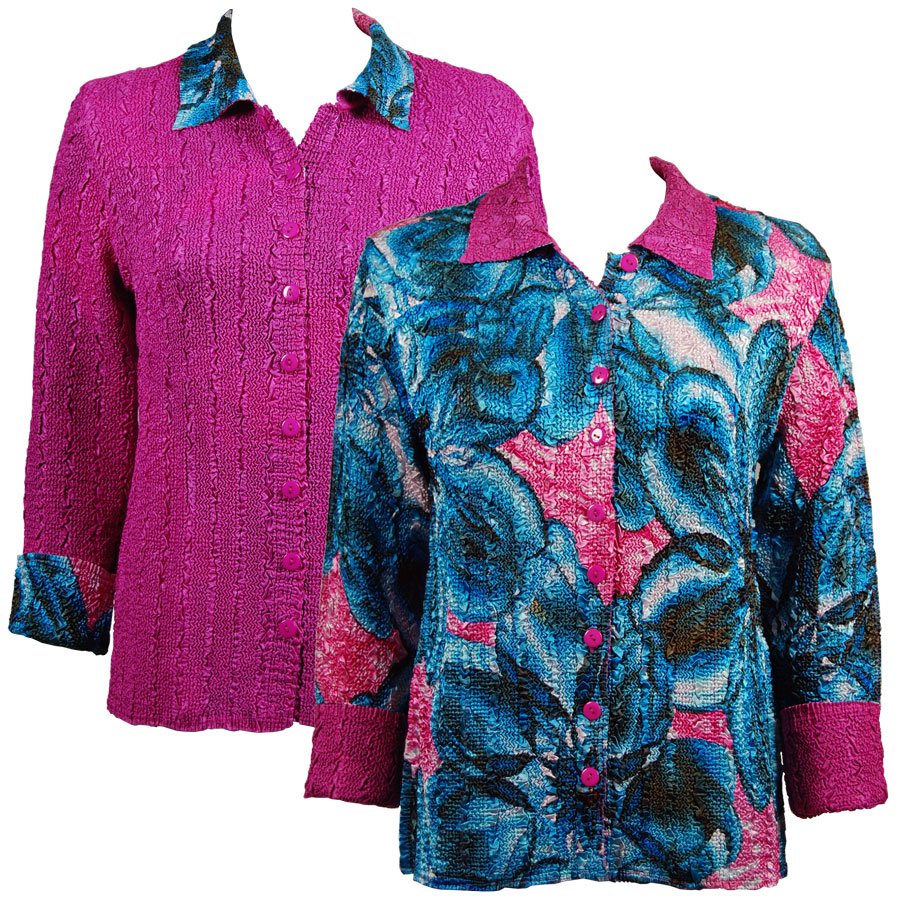 Wholesale Magic Crush - Reversible Jackets Blue-Pink Floral reverses to Solid Fuchsia - S-M