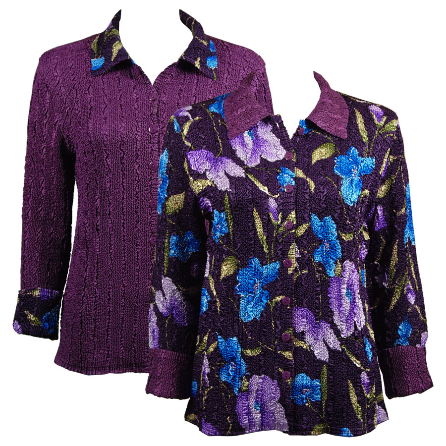 Wholesale Magic Crush - Reversible Jackets Blue-Purple Floral on Eggplant reverses to Solid Eggplant - S-M
