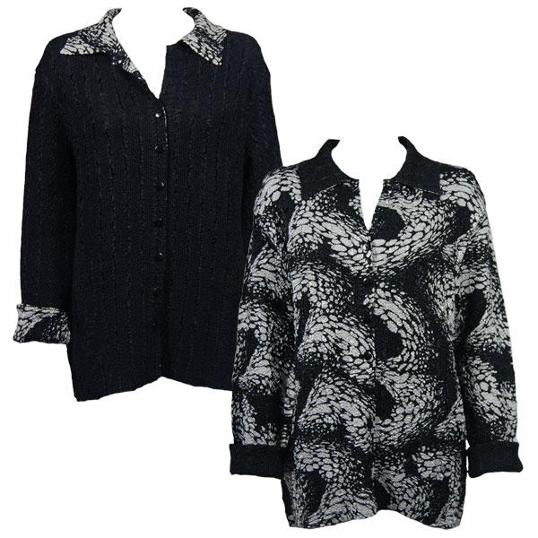 Wholesale Magic Crush - Reversible Jackets Swirl Reptile Black-White reverses to Solid Black - L-XL