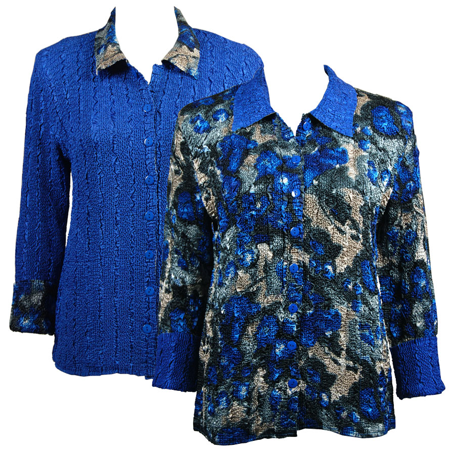 Wholesale Magic Crush - Reversible Jackets Abstract Designs Blue-Charcoal reverses to Solid Royal MB - L-XL